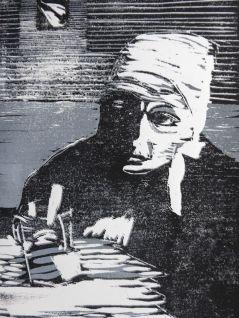 Christine Lavant, Holzschnitt (verlorene Platte), 2015, 30x20cm