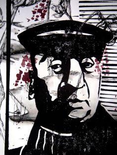 Pablo Neruda, Linolschnitt, Materialdruck und Feder, 2004, 30x20cm