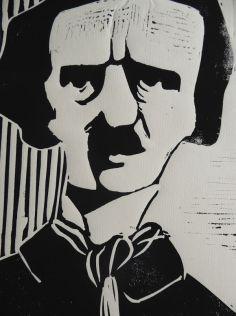 Edgar Allen Poe, Linoldruck, 2014, 30x20cm
