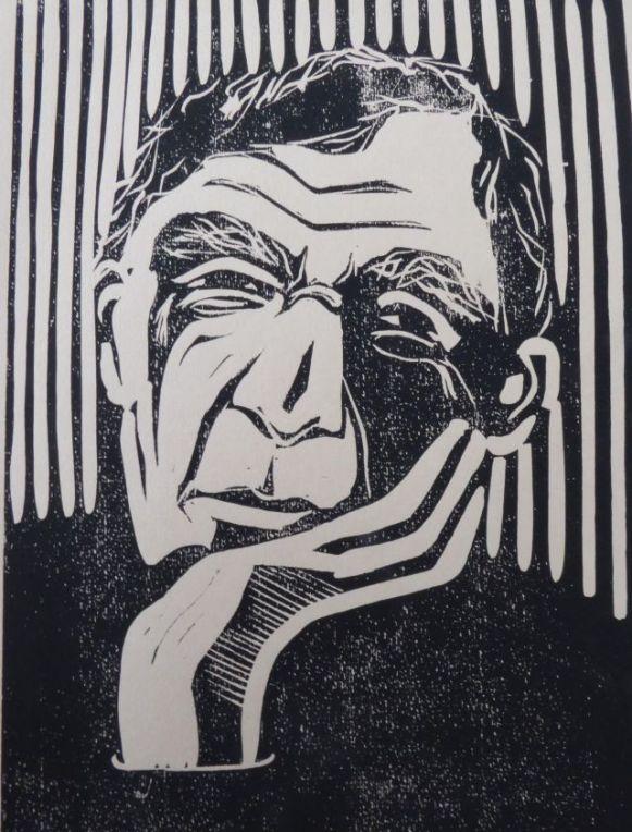 John Updike, Linolschnitt, 2016, 30x20cm