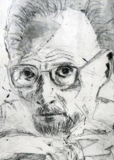 Primo Levi, Kaltnadel, Offene Ätzung, 2017, 30x20cm