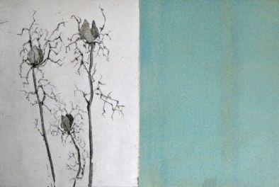 Jungfer im Grünen, Aquatinta, Radierung, 2008, 2 Platten, je 20x15cm
