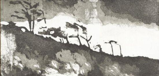 Darß, Radierung, Offene Ätzung, Aquatinta, 2010, 15x30cm