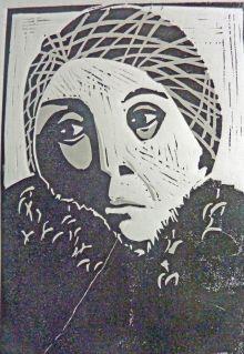 Tania Blixen, Linolschnitt (verlorene Platte), 2011, 30x20cm