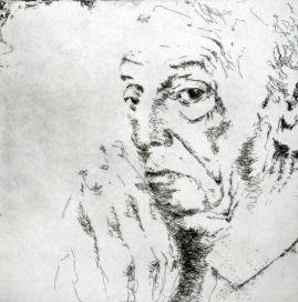 Saul Bellow, Radierung, 2009, 20x20cm