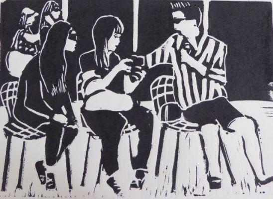 MoMA Garten, Linolschnitt, 2014, 20x30cm