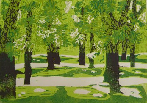 Pillnitz, Linolschnitt (verlorene Platte), 2014, 30x40cm