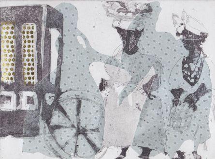 Aquatinta, Collage, Strichätzung, 15x20cm, 2018