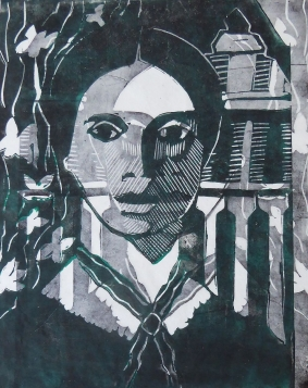 Emily Dickinson, Linolschnitt 2019, 30x24cm