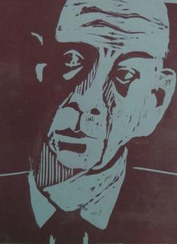 E.E.Cummings, Holzschnitt 2020, 30x20cm