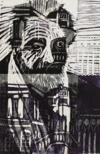 Ezra Pound, Linolschnitt 2020, 31x21cm