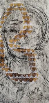 Das langsame Verschwinden der Emily Dickinson 1, 2020, Kaltnadel, Offene Ätzung, Collage, 30x15cm