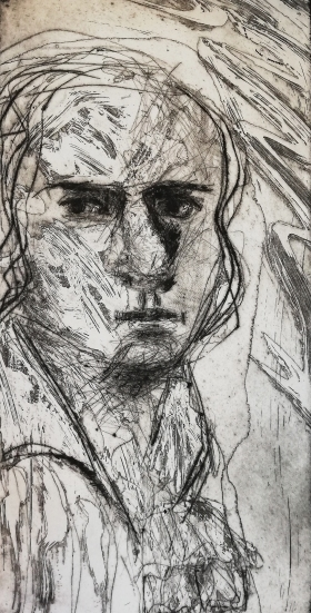Friedrich Hölderlin, Kaltnadel, Offene Ätzung, 2020, 30x15cm
