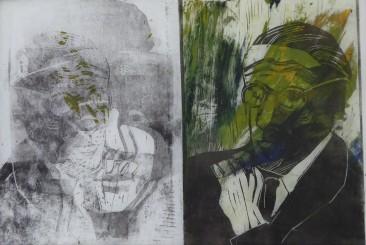 James und Nora, Monotypie, Linolschnitt, 30x35cm. 2020